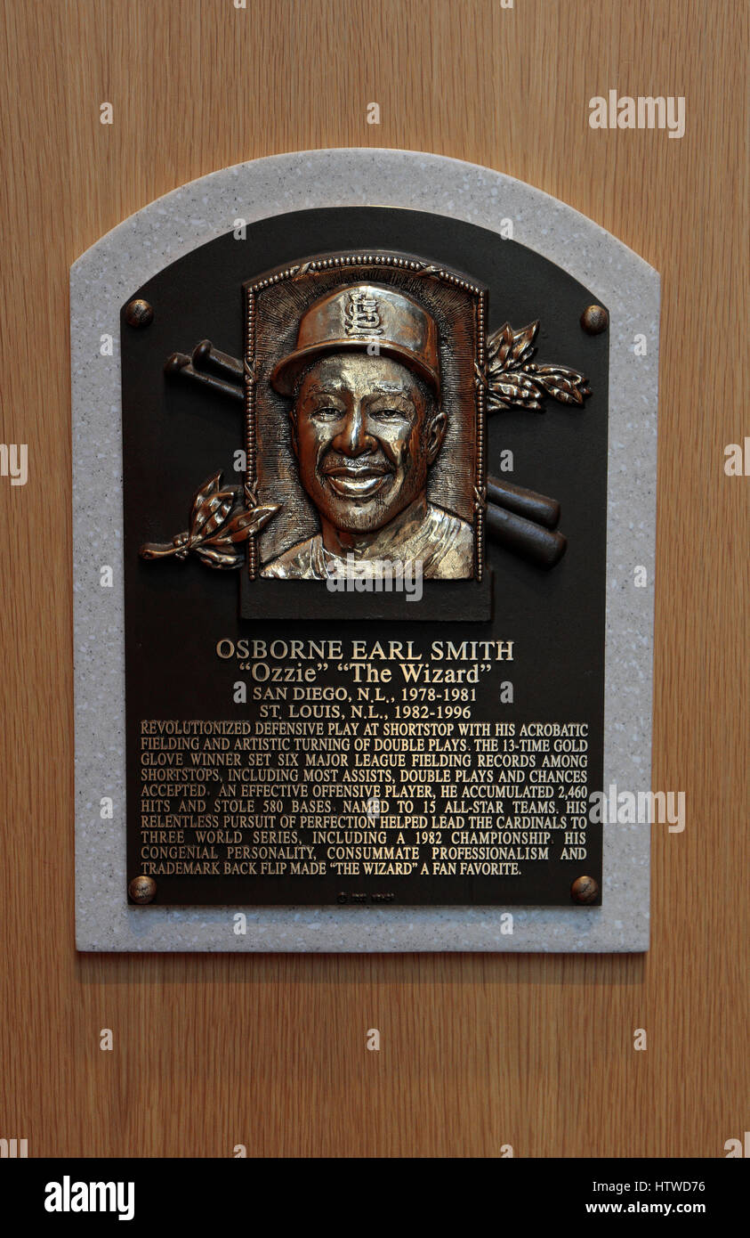 Memorial plaque for shortstop Ozzie Smith in the Hall of Fame Gallery, National Baseball Hall of Fame & Museum, - Stock Image