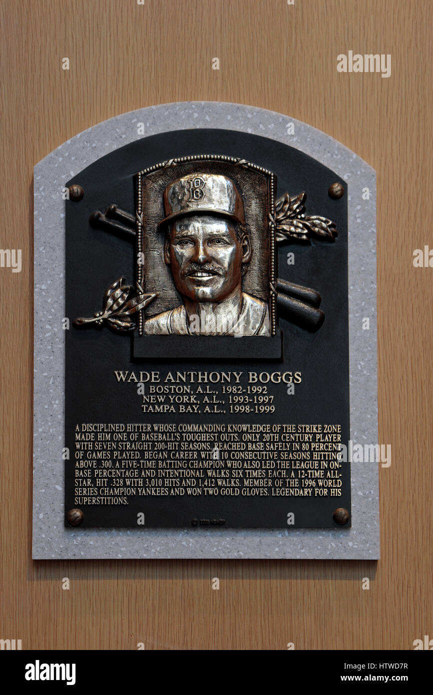 Memorial plaque for third base Wade Boggs in the Hall of Fame Gallery, National Baseball Hall of Fame & Museum, - Stock Image