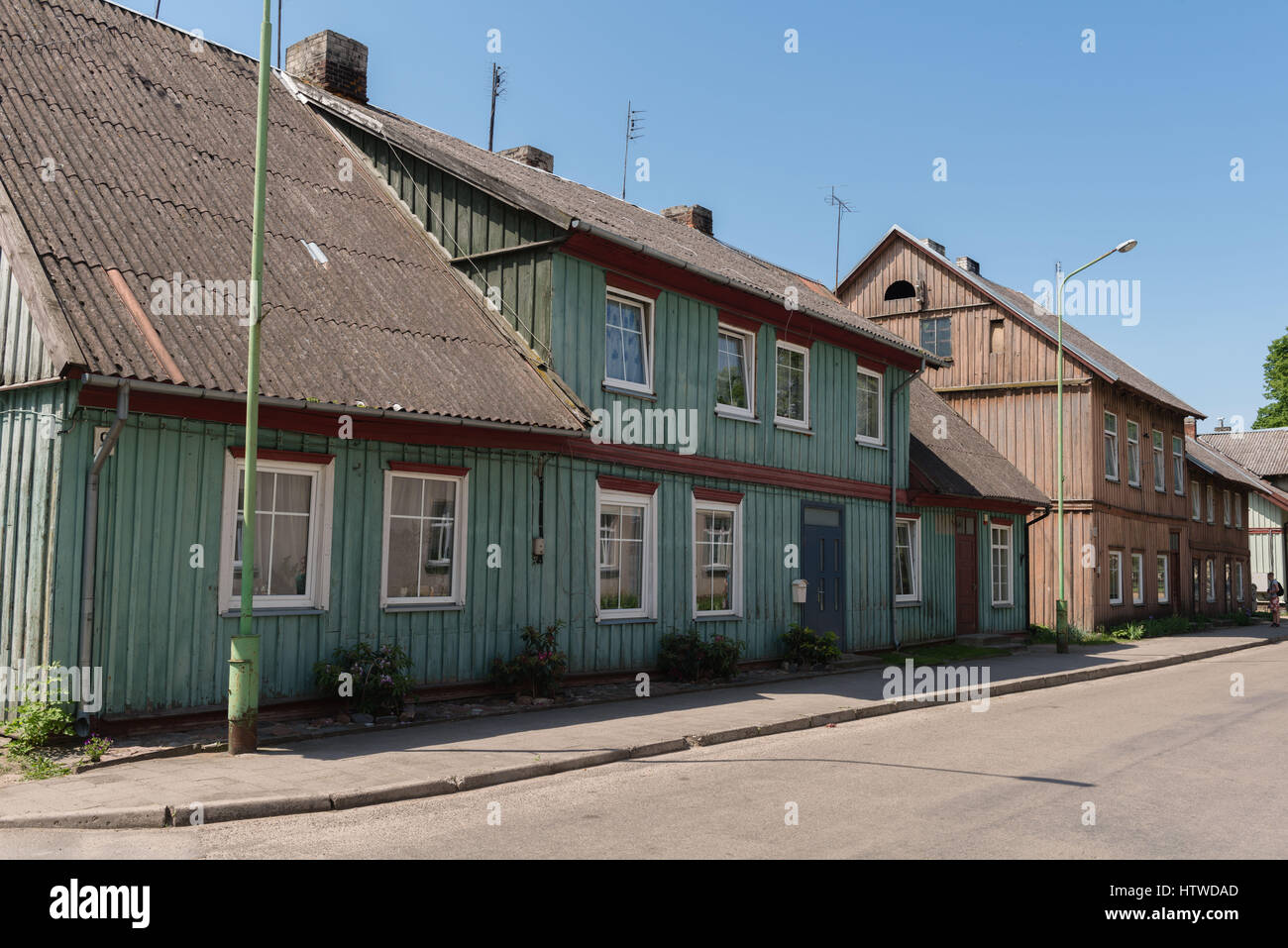 Wooden houses in Rusne, Lithuania, Baltic States, eastern Rurope Stock Photo