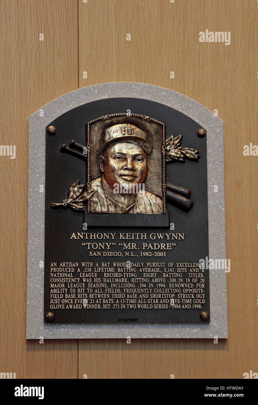 Memorial plaque for right fielder Tony Gwynn in the Hall of Fame Gallery, National Baseball Hall of Fame & Museum, - Stock Image