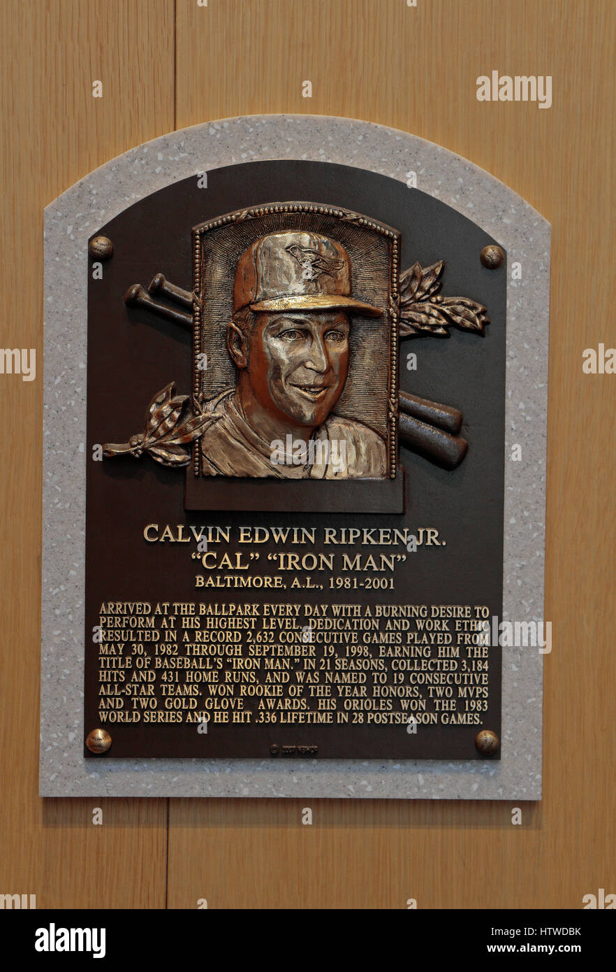 Memorial plaque for shortstop Cal Ripken, Jr. in the Hall of Fame Gallery, National Baseball Hall of Fame & - Stock Image