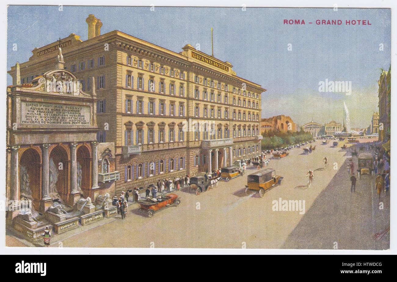 Grand Hotel & Via Vittorio Emanuele Orlando / Piazza della Repubblica (Esedra), Rome, Italy - Stock Image