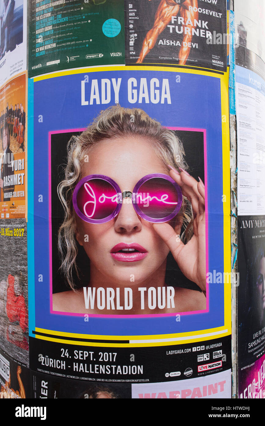 Billboard promoting Lady Gaga World tour Joanne  in Zurich, Switzerland. The Joanne World Tour is the fifth headlining - Stock Image