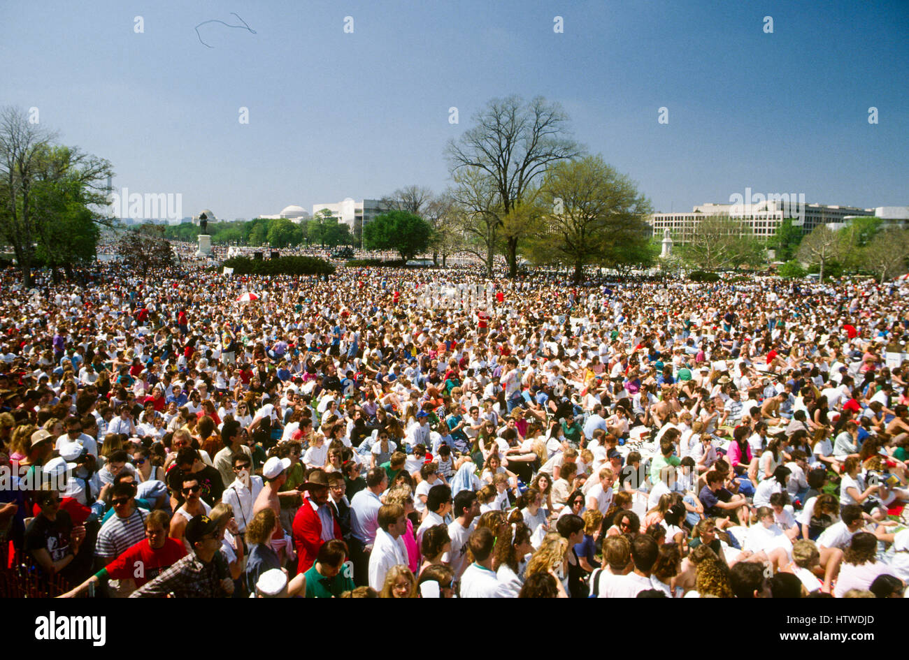 The Earth Day rally on the west front of the US Capitol the crowd of about 350,000 people filled the capitol grounds - Stock Image