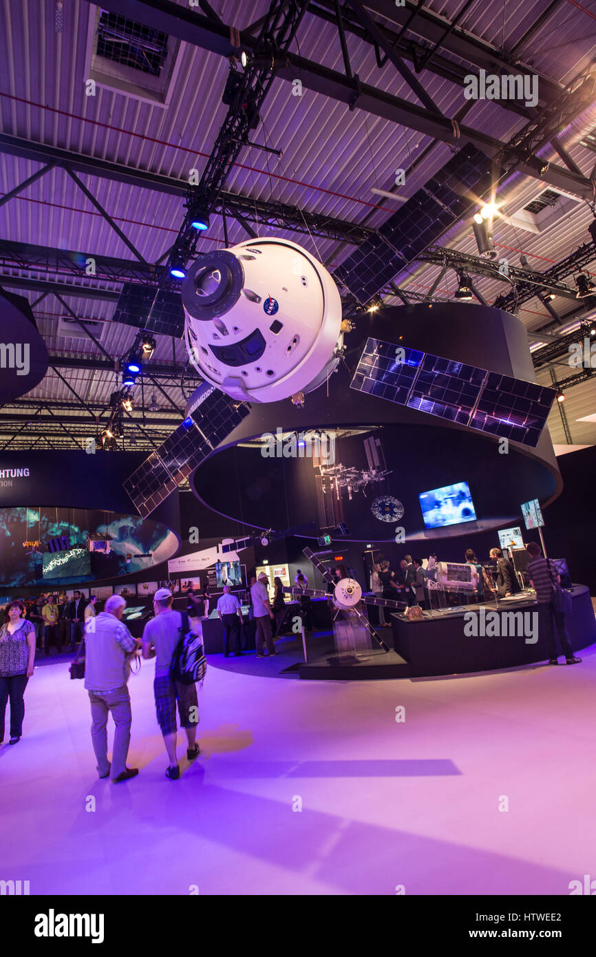 Aerospace, satellite and International Space Station ISS space center exhibition - Stock Image