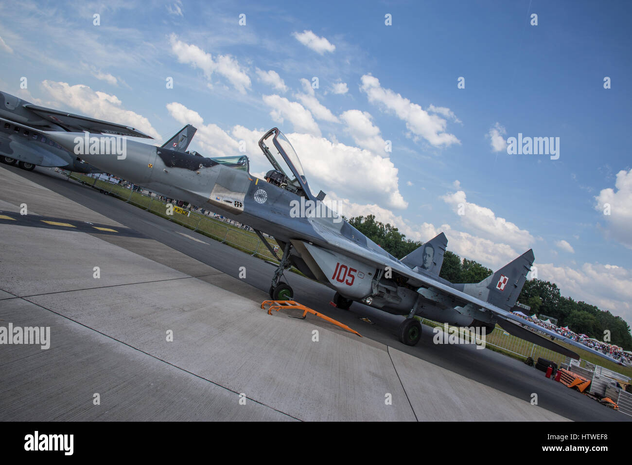 MIG-29 military aircraft at international airshow exhibition in aerodrome - Stock Image