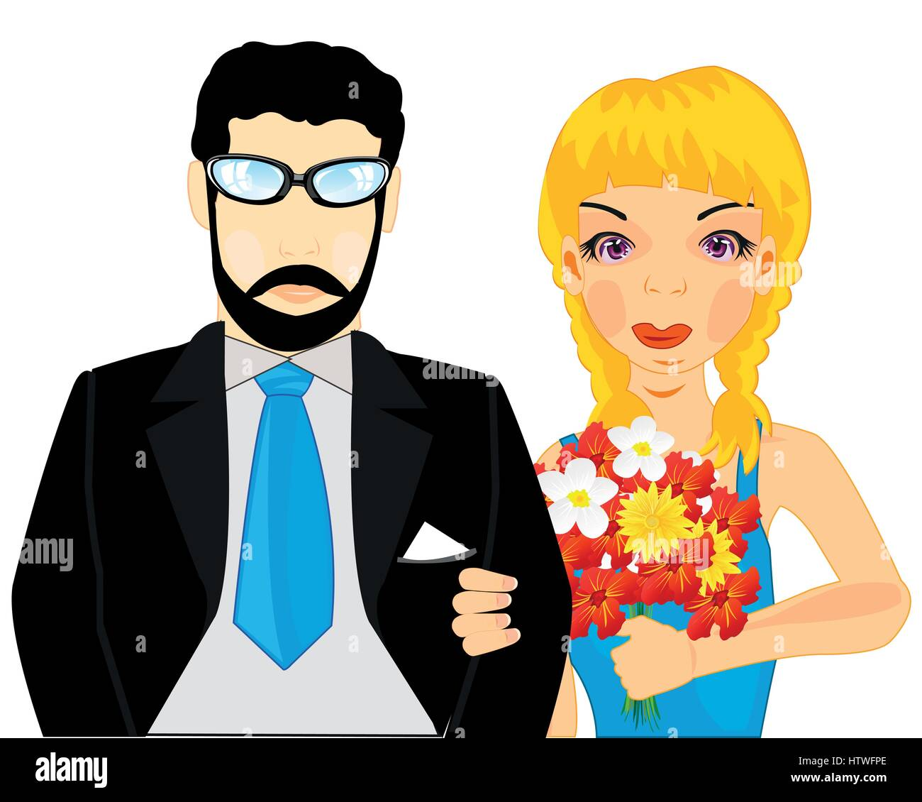 Beautiful pair man and woman with flower on white background - Stock Vector
