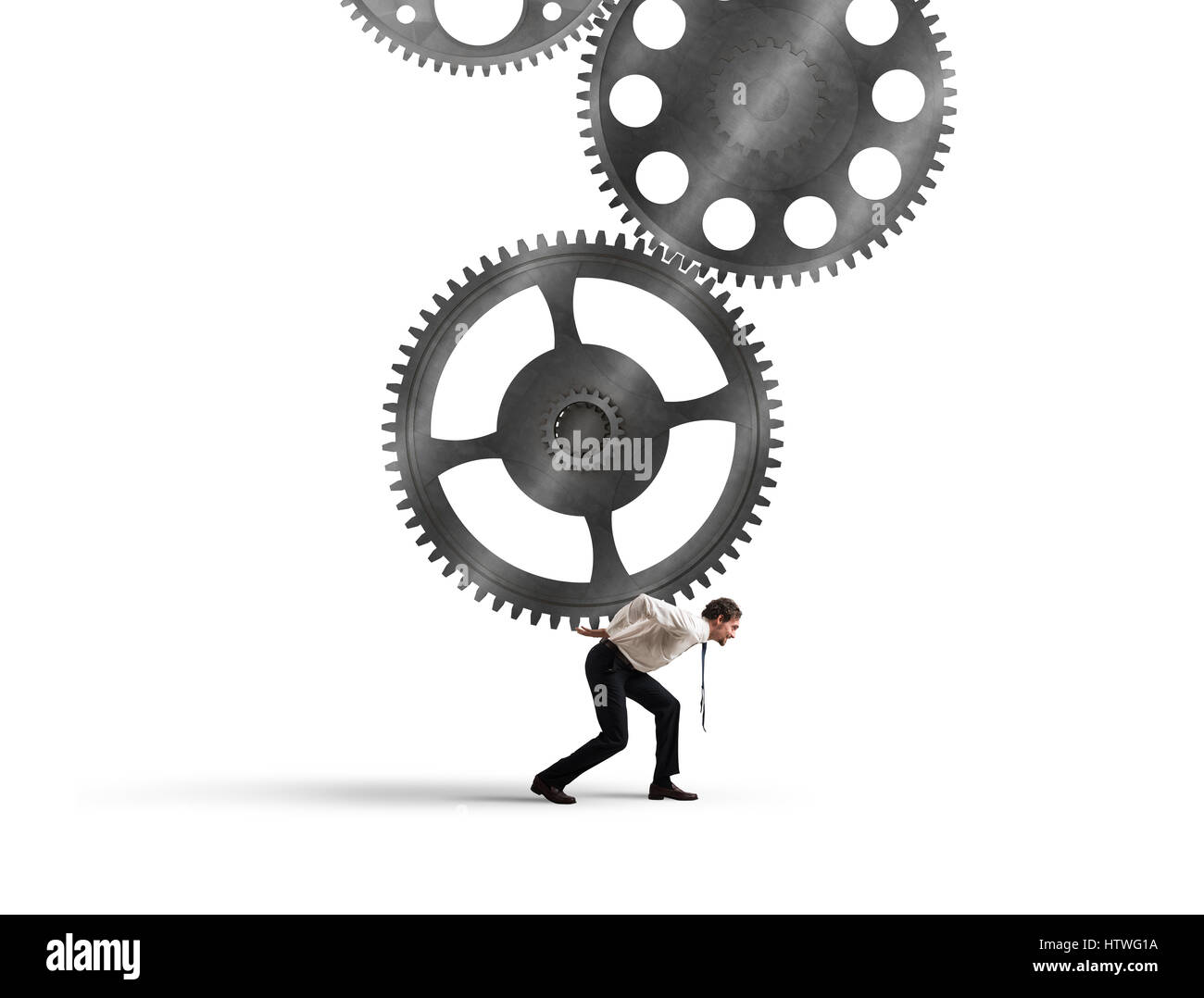 Integration concept with gears system mechanism - Stock Image