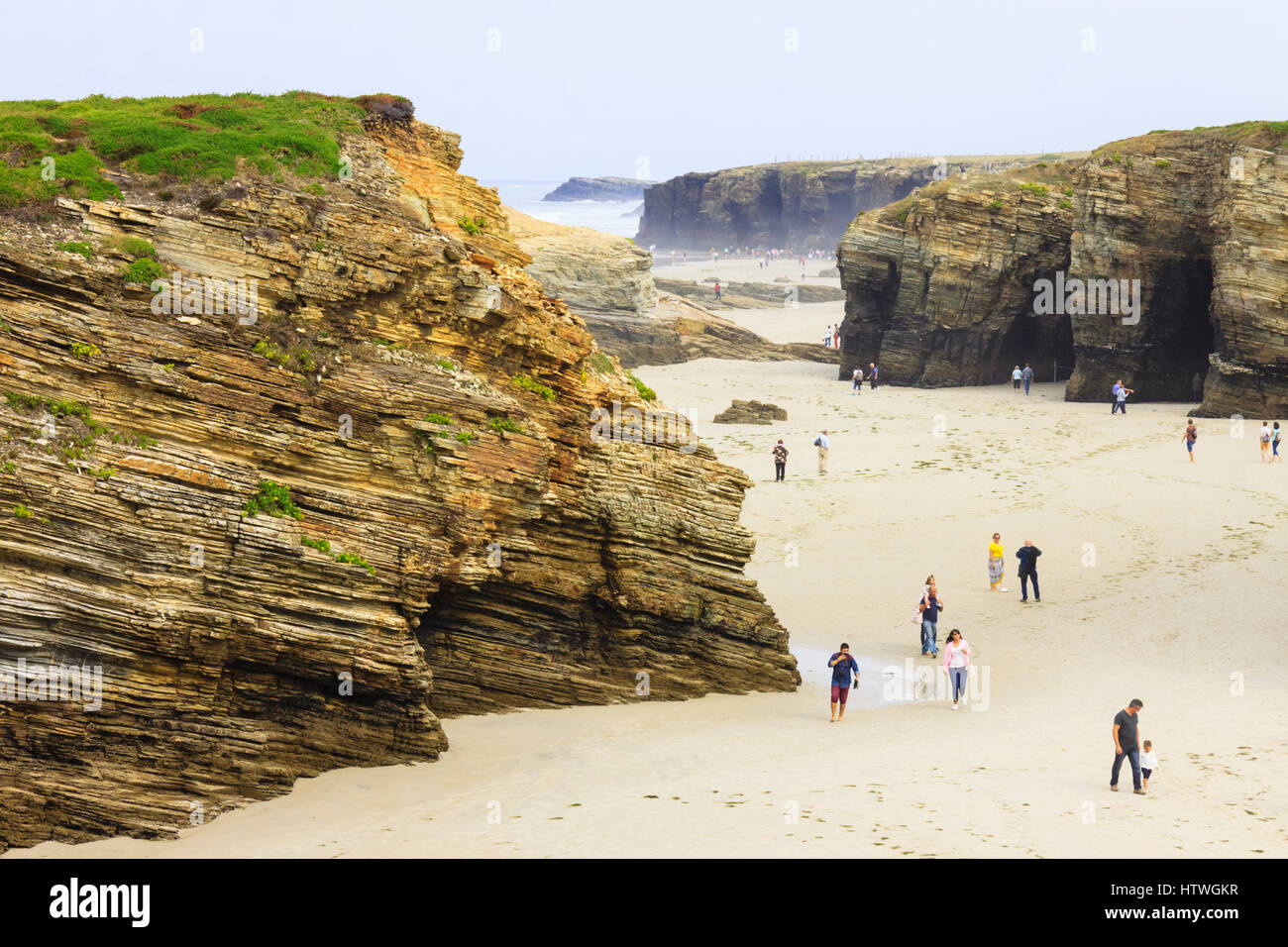 Beach of the Cathedrals Natural Monument at Ribadeo municipality, Lugo province, Galicia, Spain, Europe - Stock Image