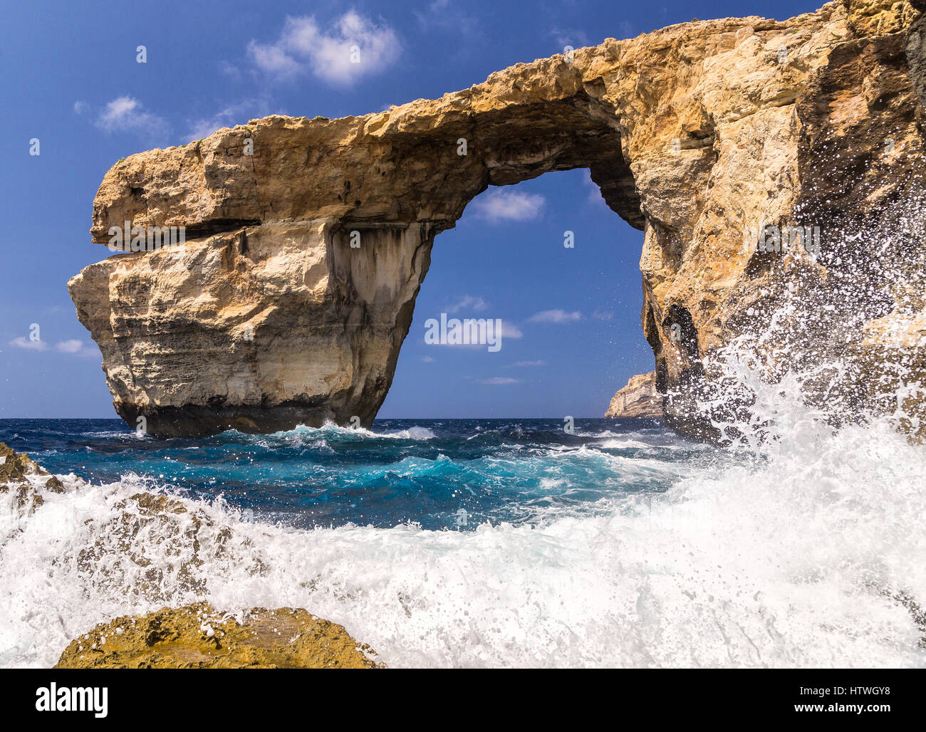 Azure Window - awesome Gozo, Malta  rocky formation, collapsed due erosion in march 2017. Rocky formation lost forever. - Stock Image