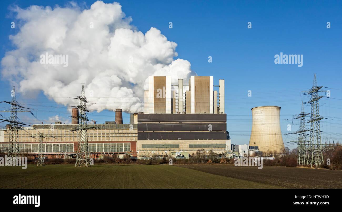 Weisweiler RWE brown coal power plant / Kraftwerk Weisweiler at Eschweiler, North Rhine-Westphalia / Nordrhein-Westfalen, Stock Photo