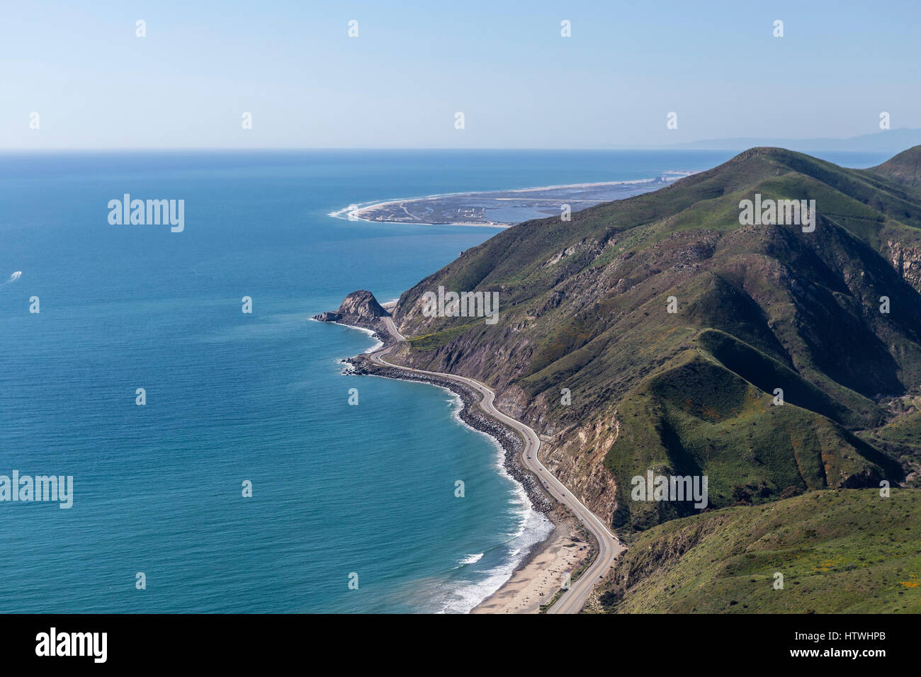 Aerial view of Pacific Coast Highway at Point Mugu between Malibu and Oxnard California. - Stock Image
