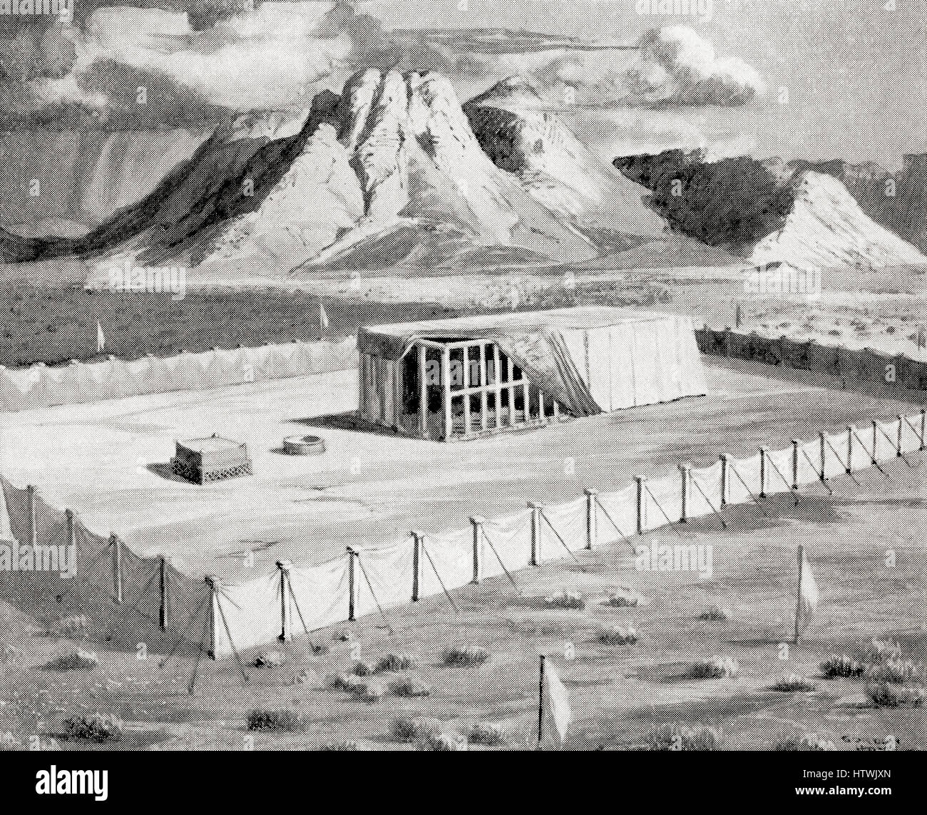 The Tabernacle erected by Moses, Mount Sinai in the background.  From Hutchinson's History of the Nations, published - Stock Image