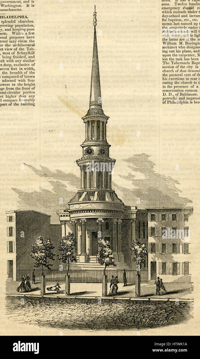 Antique 1854 engraving, 'Tabernacle Baptist Church, West Chestnut Street, Philadelphia.' SOURCE: ORIGINAL - Stock Image