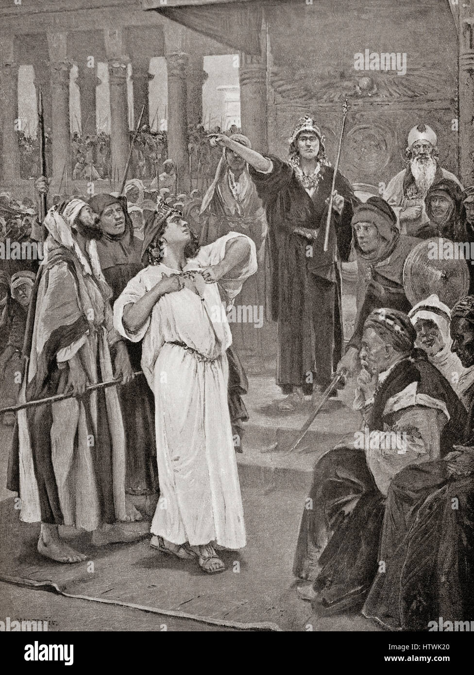 Athaliah hears the proclamation of Joash, 836 B.C. After the massacre at Jehu, Israel and the house of David, Athaliah - Stock Image