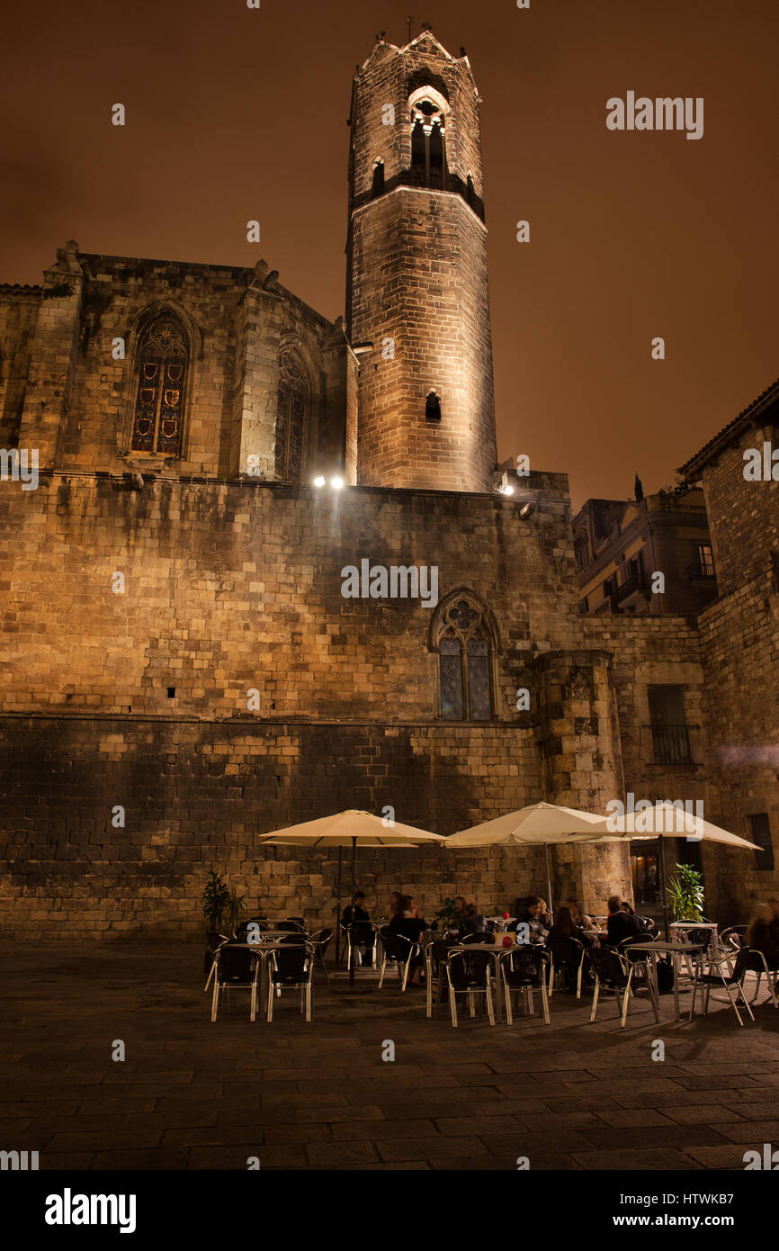 Tower of the Royal Chapel of St. Agatha and Placa del Rei square at night in Gothic Quarter (Barri Gotic) of Barcelona Stock Photo