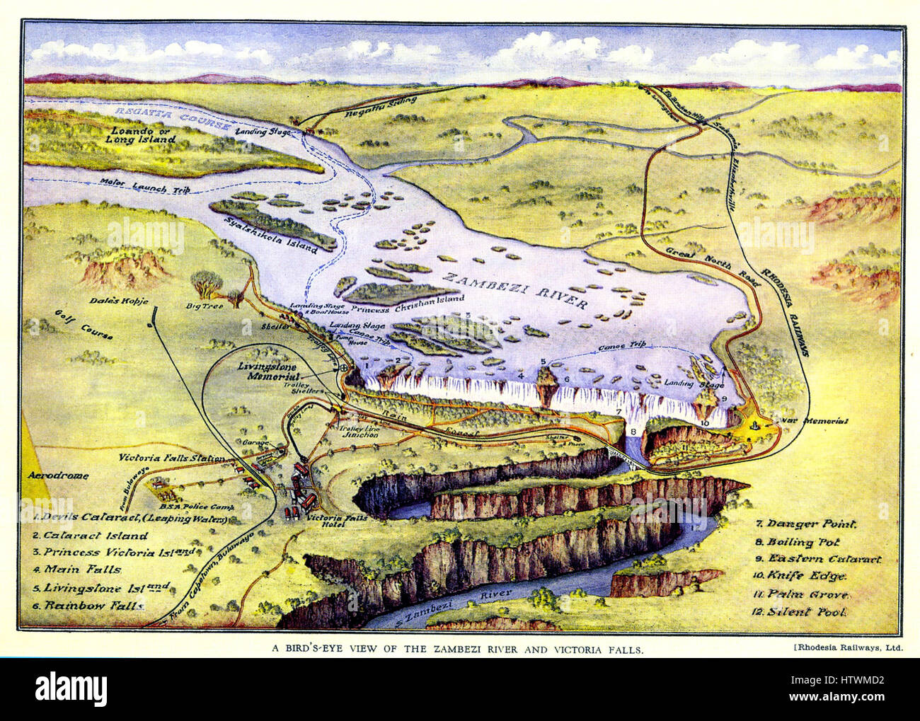 RHODESIA RAILWAYS POSTER about 1897. Note the various river trips, regatta course and golf course labelled as attractions - Stock Image