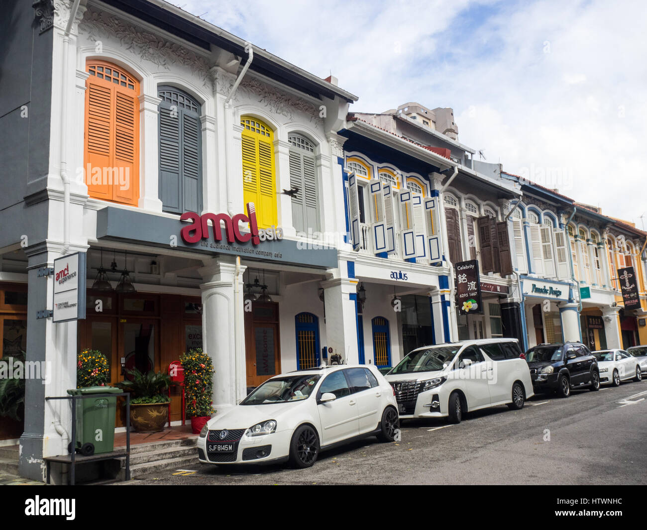 Typical Singaporean street lined with traditional shophouses in Rochor. - Stock Image