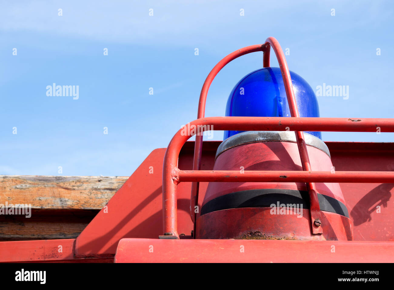 blue emergency vehicle lighting of a classic fire engine Stock Photo