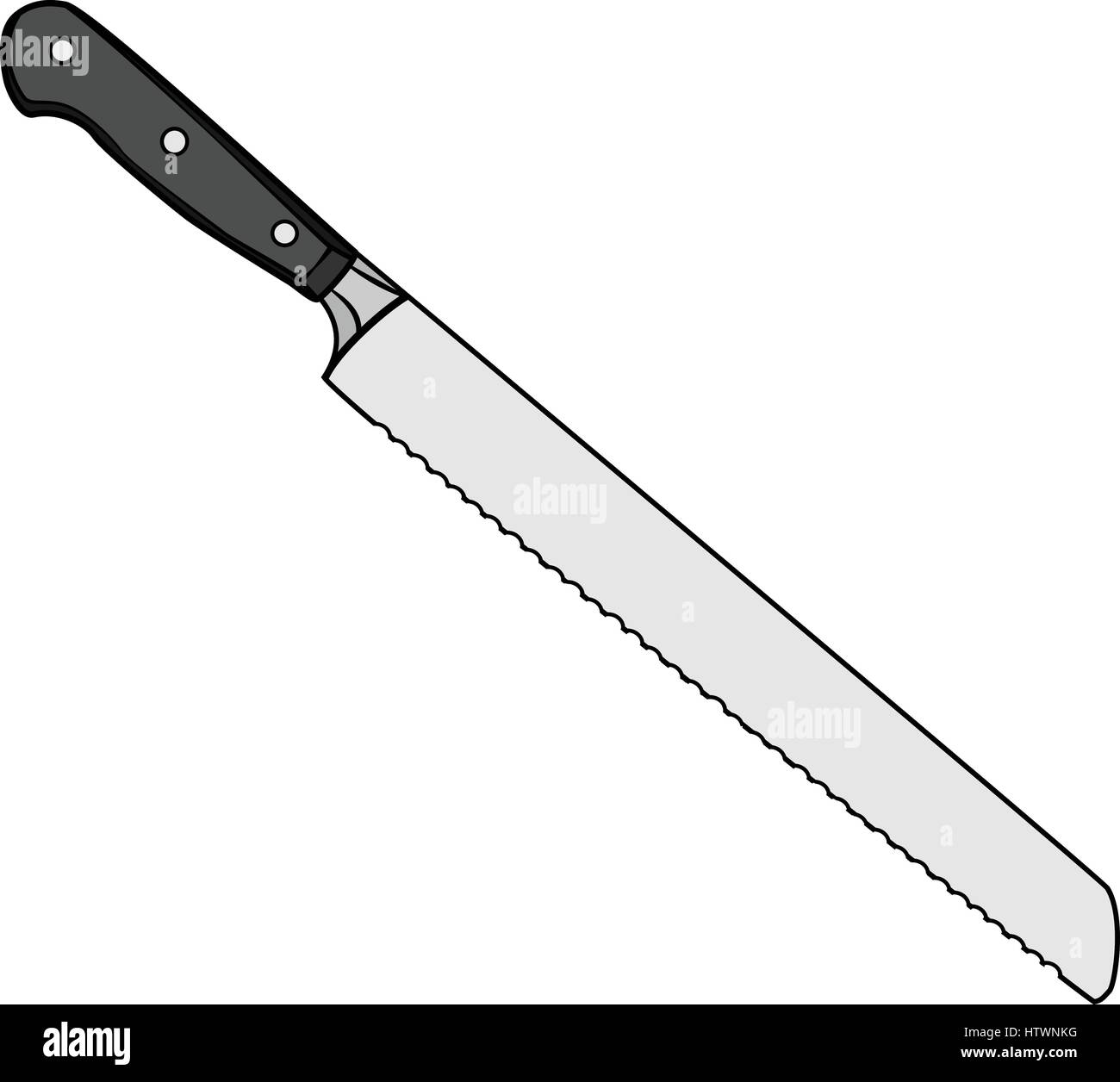 Illustration Of Isolated Bread Knife Cartoon Drawing Vector Eps 8