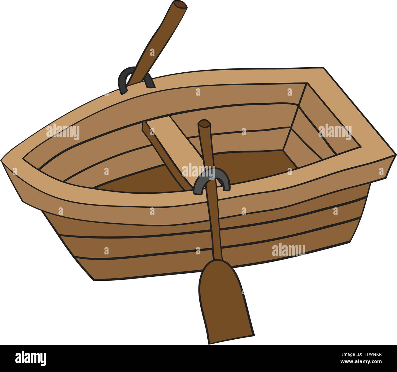 Preferred Illustration of Cute Cartoon Doodle of Wooden Row Boat. EPS8 Stock  PJ05