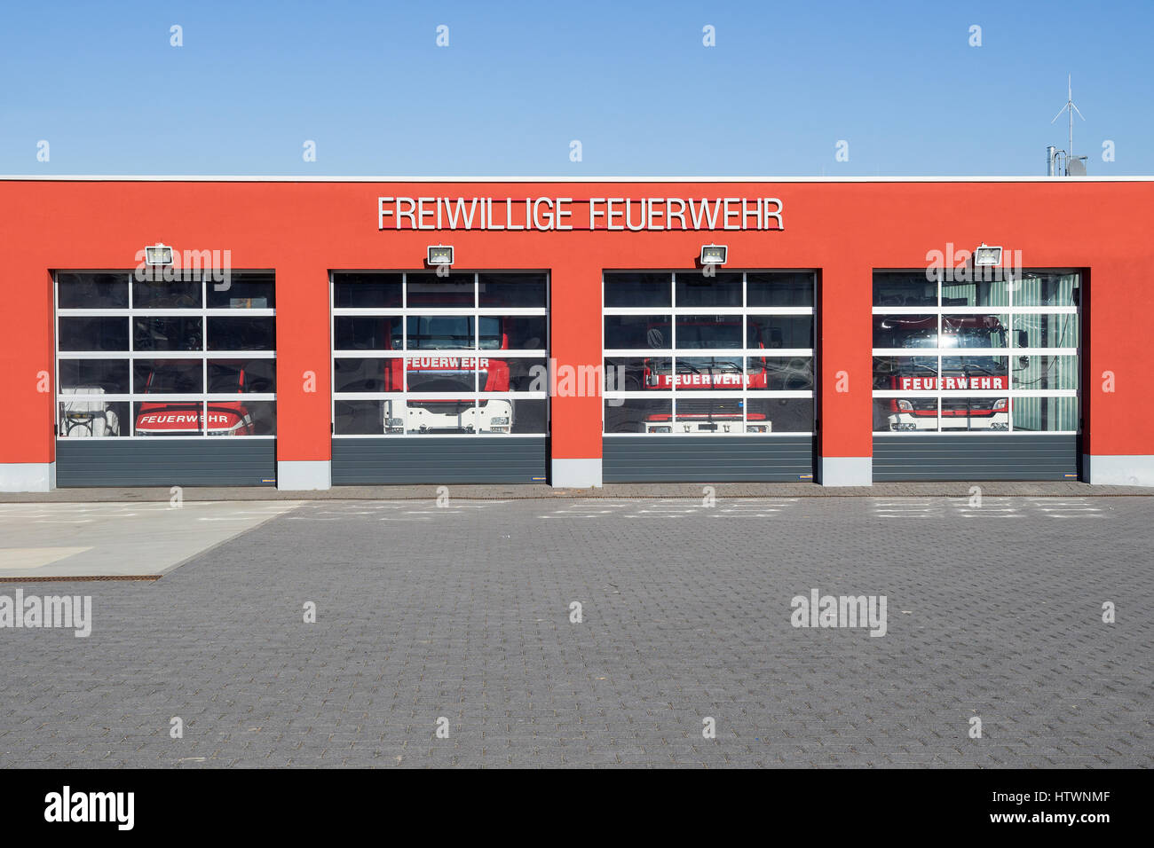 fire station of a German volunteer fire department - Stock Image