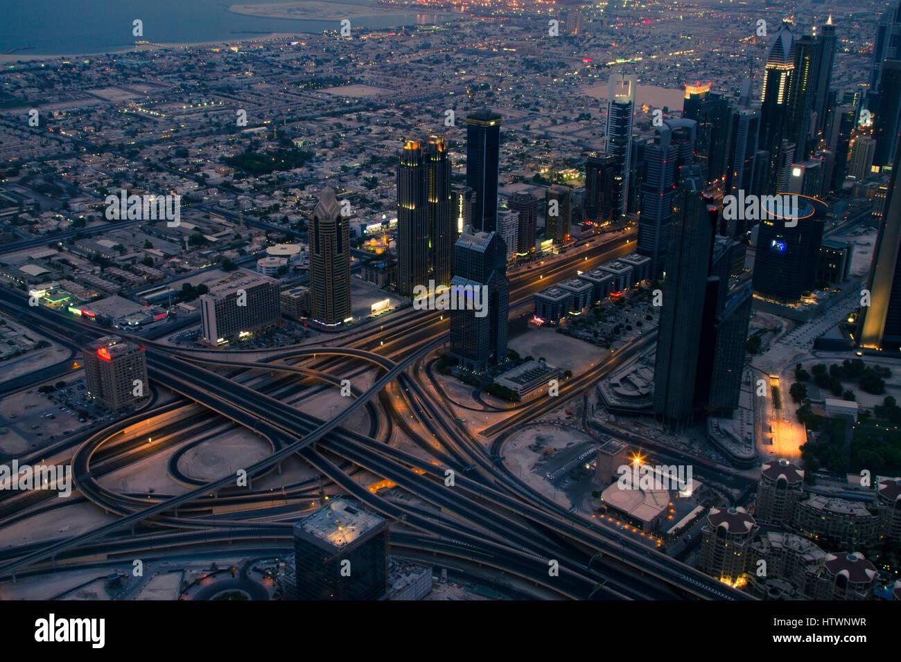 Dubai city from Burj Khalifa. Jumeirah area.  Dubai. United Arab Emirates. - Stock Image
