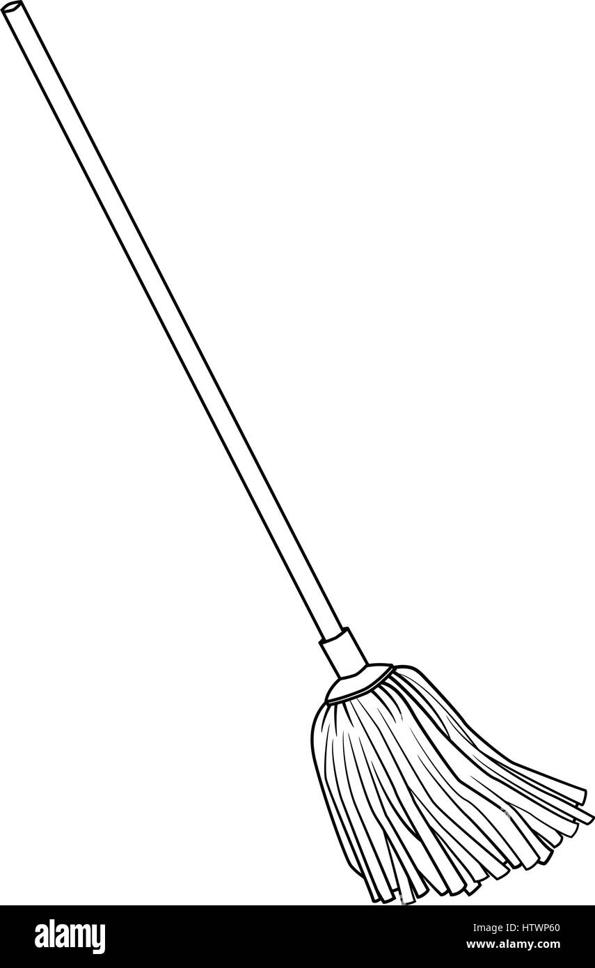 Illustration of Cute Cartoon Doodle of Mop. EPS8. - Stock Vector