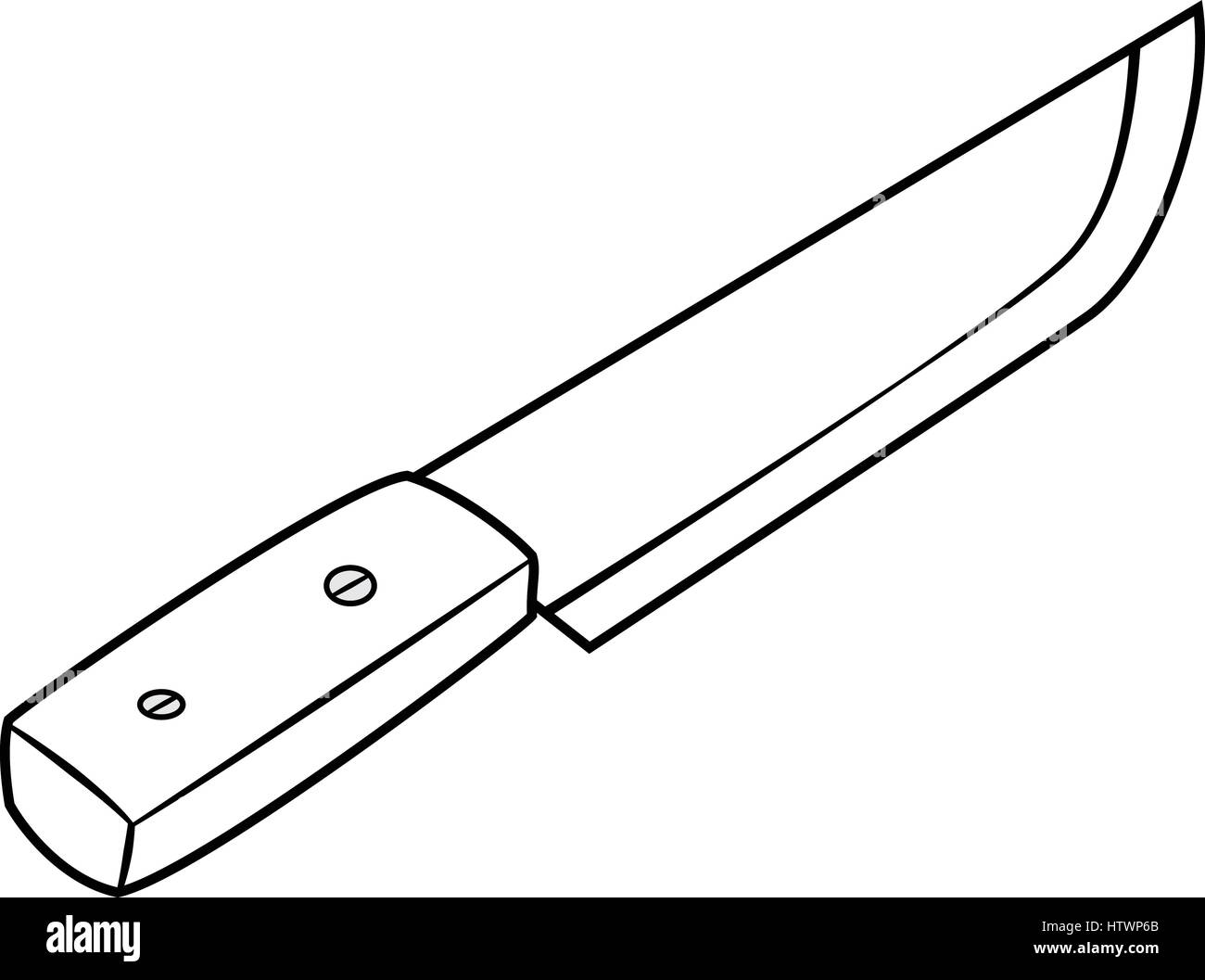 Illustration Of Isolated Chef Knife Cartoon Drawing Vector Eps 8
