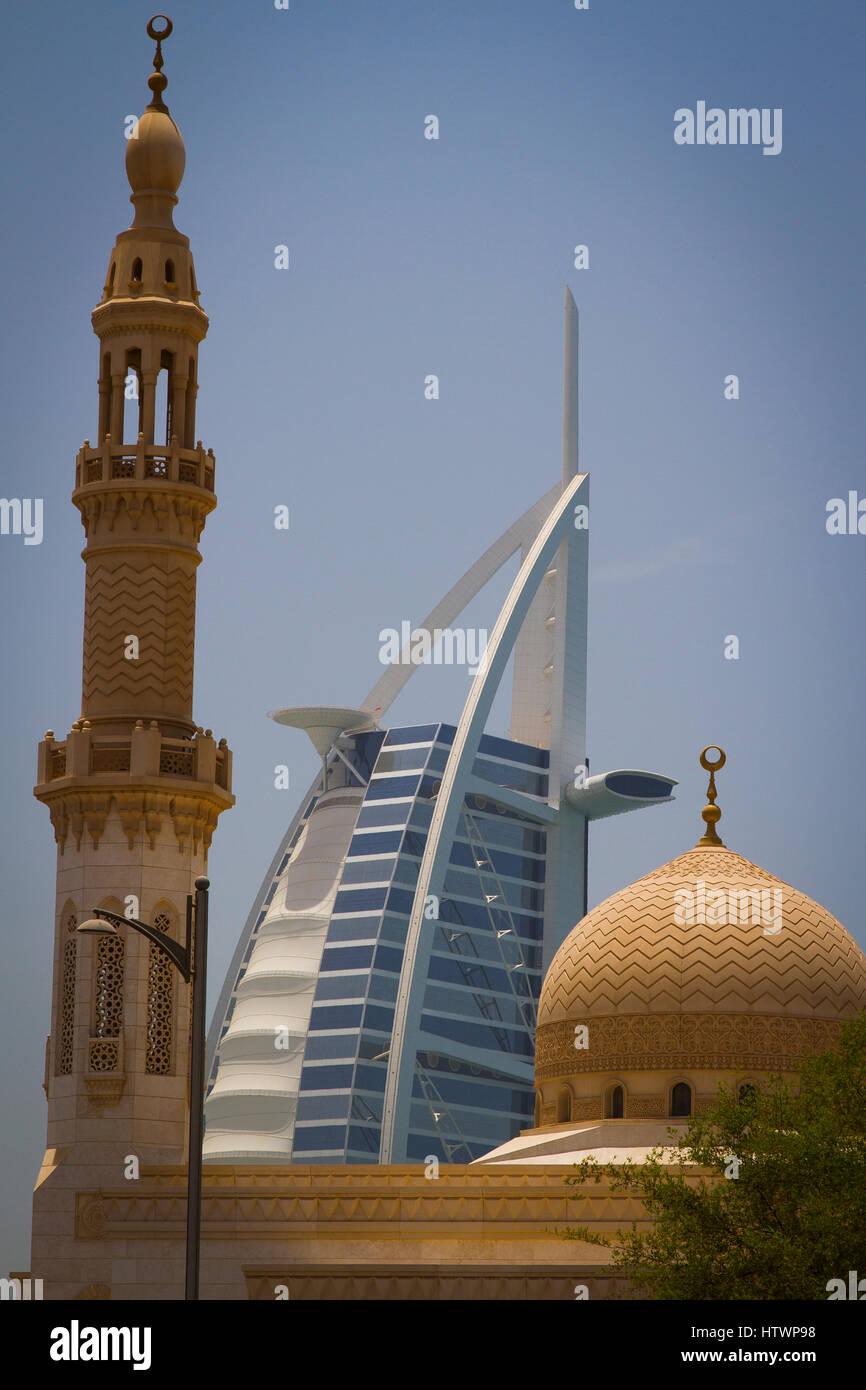 Burj al Arab Hotel and mosque. Jumeirah area. Dubai city.  Dubai. United Arab Emirates. - Stock Image