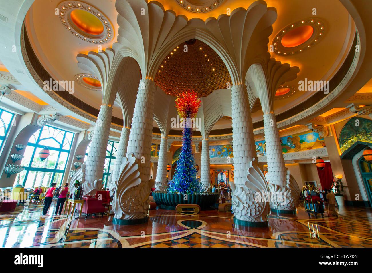 Entrance Hall. Atlantis, The Palm Hotel. Palm Jumeirah. Dubai city.  Dubai. United Arab Emirates. - Stock Image