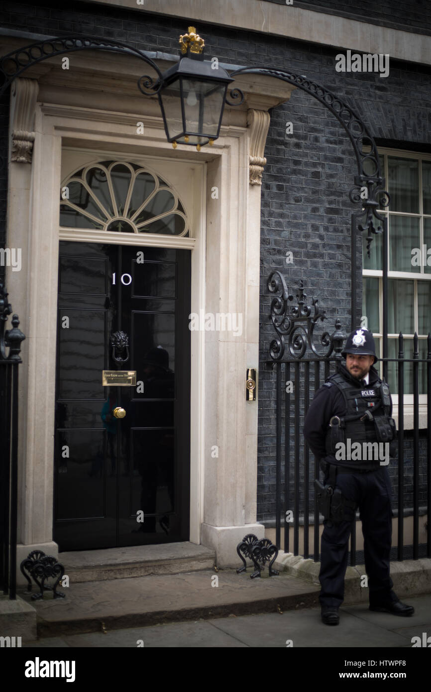 The door at No. 10 Downing Street, London, England. Home to the British Prime Minister. - Stock Image