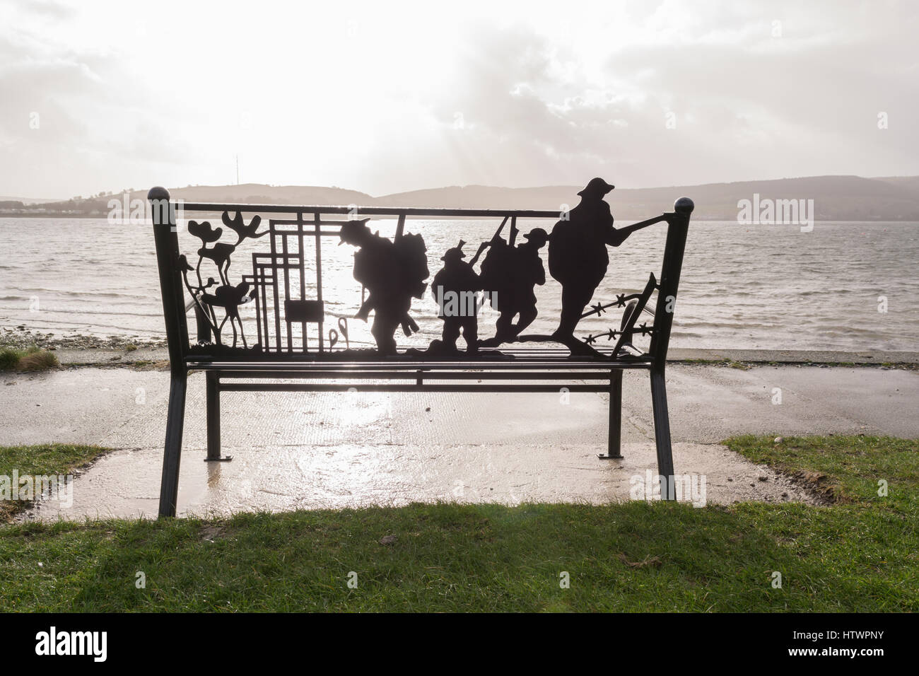 Remembrance bench for armed forces overlooking the Firth of Clyde, Helensburgh, Scotland, UK - Stock Image
