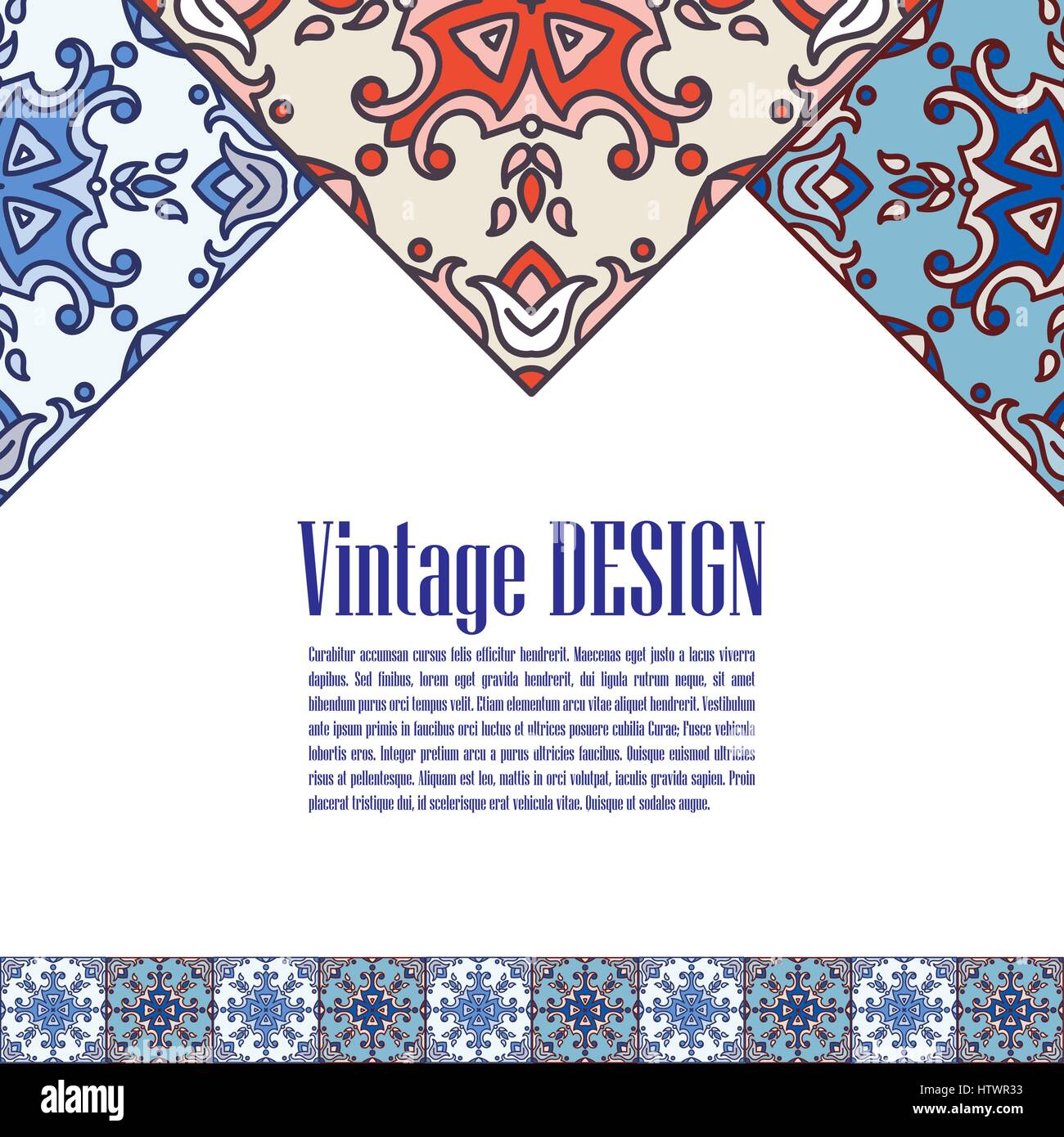 Banner azulejos in Portuguese tiles style  for business.  - Stock Vector