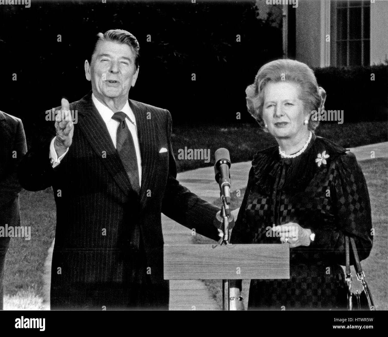 Prime Minister Margaret Thatcher of the United Kingdom, right, is shown with United States President Ronald Reagan - Stock Image