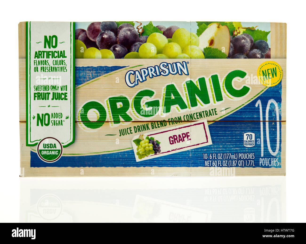 Winneconne, WI - 5 March 2017: Box of Caprisun organic juice drink on an