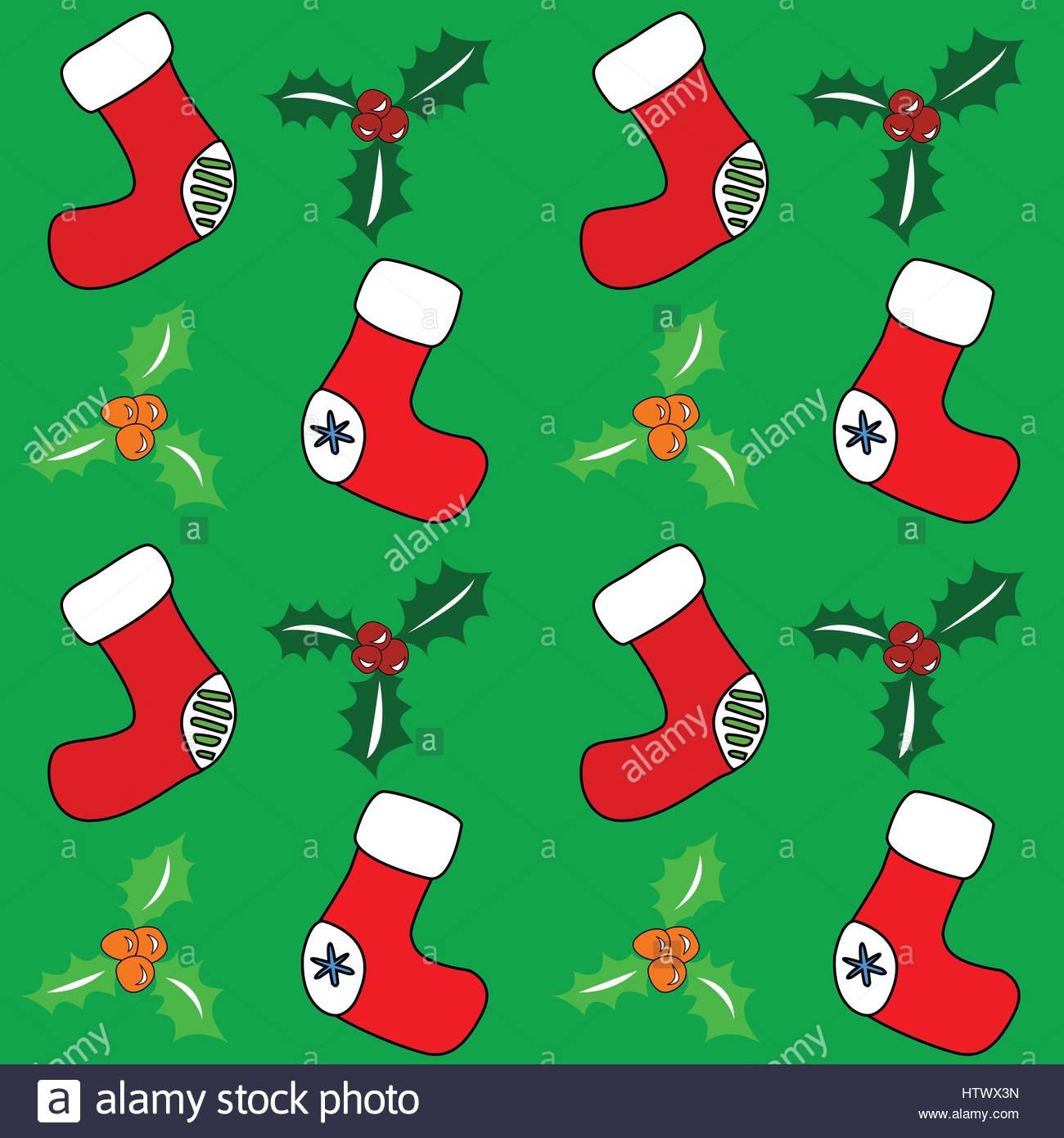 Seamless holiday retro background. Santa stockings and holly. Vector eps. Stock Vector