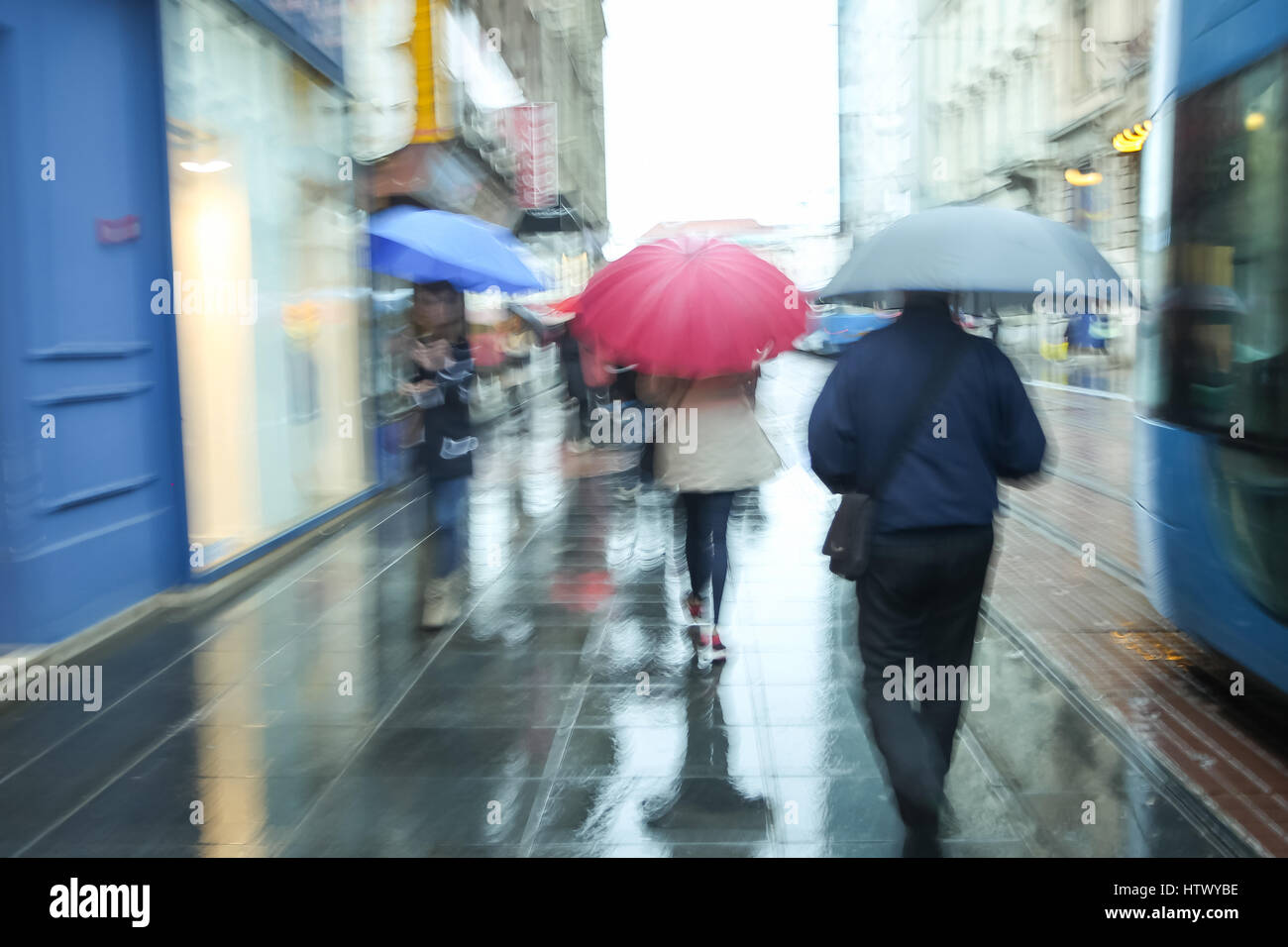 ZAGREB, CROATIA - MAY 22 : A rainy and windy weather on the street of the city center on May 22, 2015 in Zagreb, - Stock Image