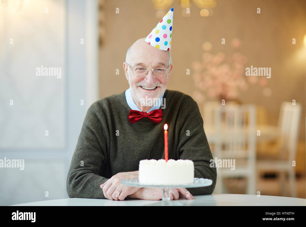 Awesome Portrait Of Happy Old Man Smiling To Camera While Sitting At Table Personalised Birthday Cards Veneteletsinfo