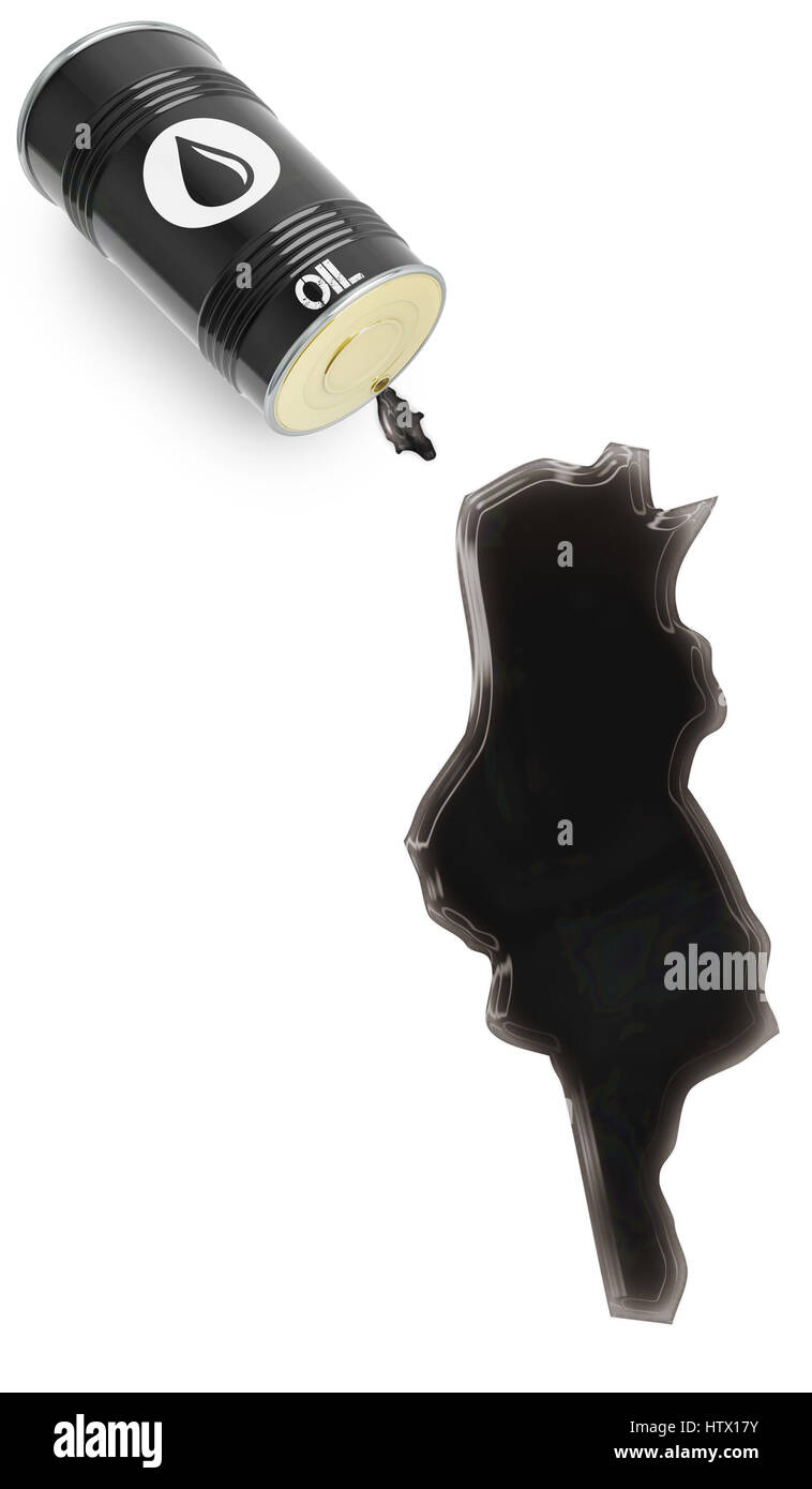 Barrel of oil and a glossy spill in the shape of Tunesia (series) - Stock Image
