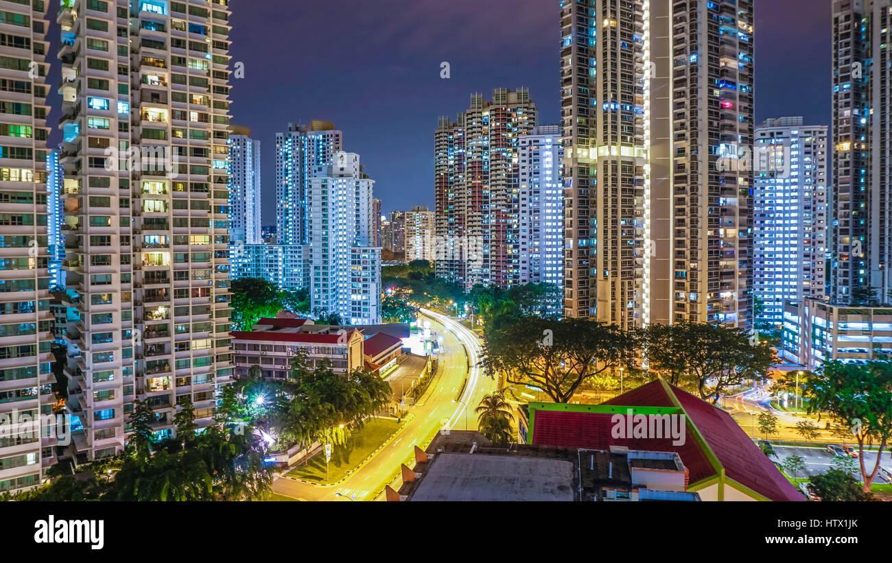Toa Payoh at Night - Stock Image