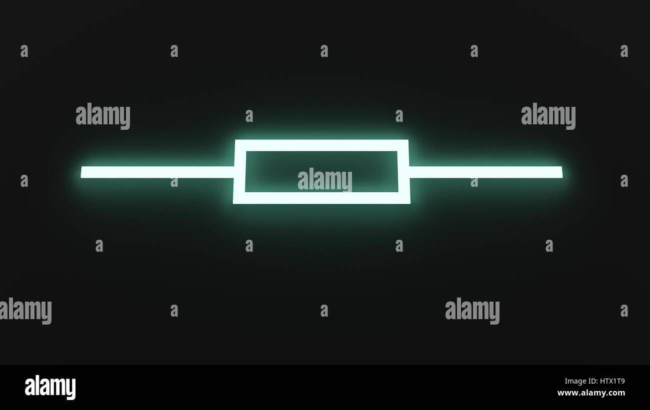 Resistor Symbol Illuminated (American) - Stock Image