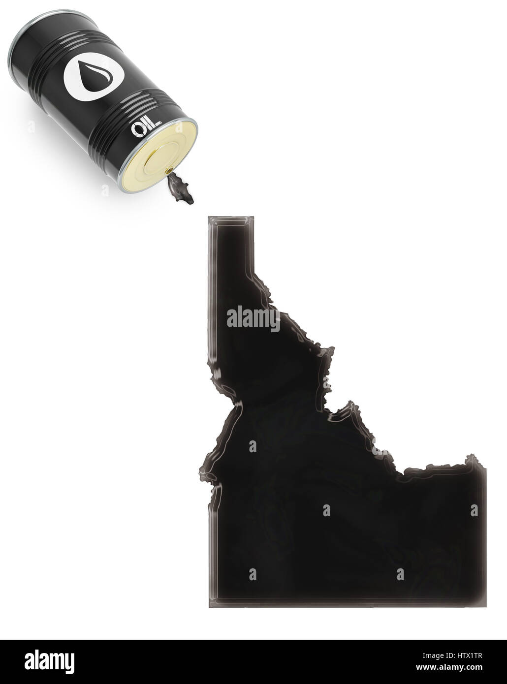 Barrel of oil and a glossy spill in the shape of Idaho (series) - Stock Image