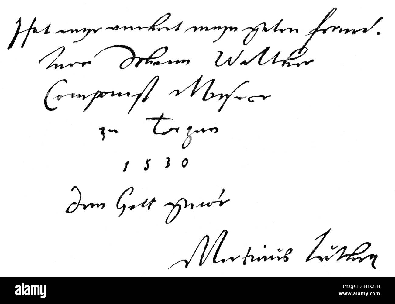 Document written by Martin Luther - Stock Image
