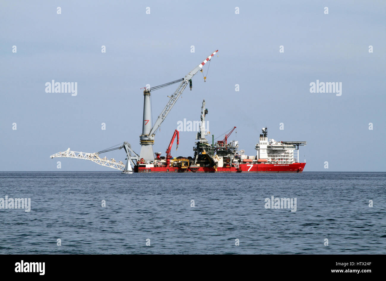 The Seven Borealis, a pipe-laying and heavy lift vessel operated by Subsea 7, lying off the coast from Limassol, - Stock Image