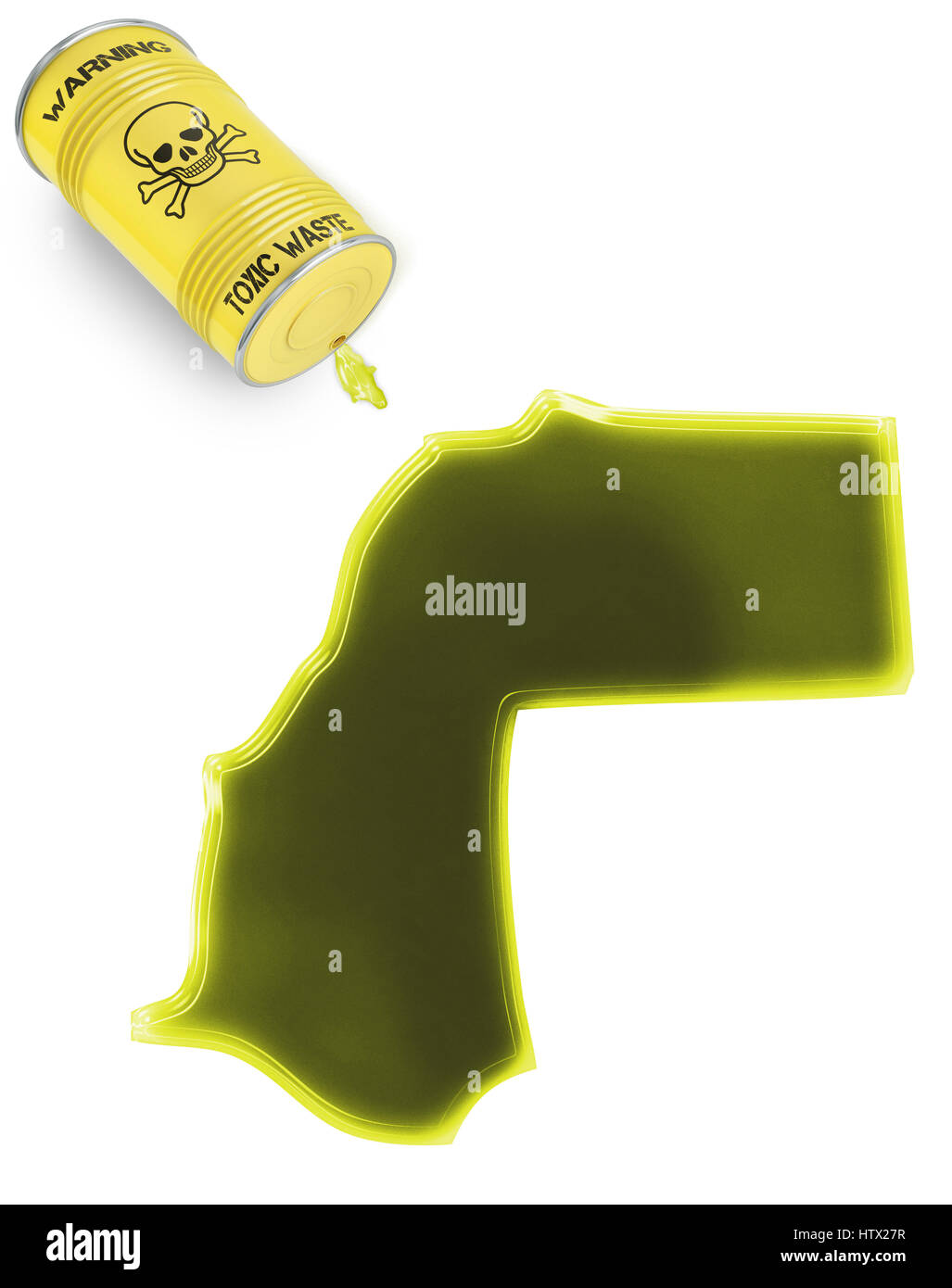 Glossy spill of a toxic substance in the shape of Western Sahara (series) - Stock Image
