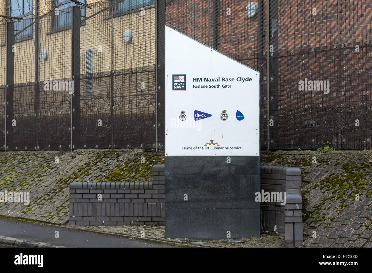 HM Naval Base Clyde - Faslane South Gate sign - Stock Image