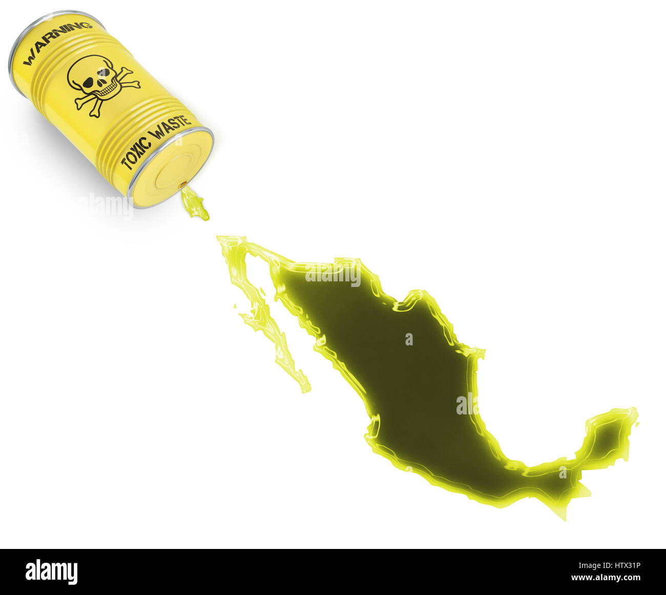 Glossy spill of a toxic substance in the shape of Mexico (series) - Stock Image