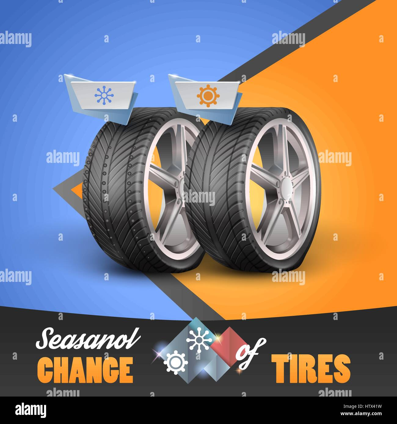 Replacement tires for the sesanol specified on label wheel. Vector illustration Stock Vector