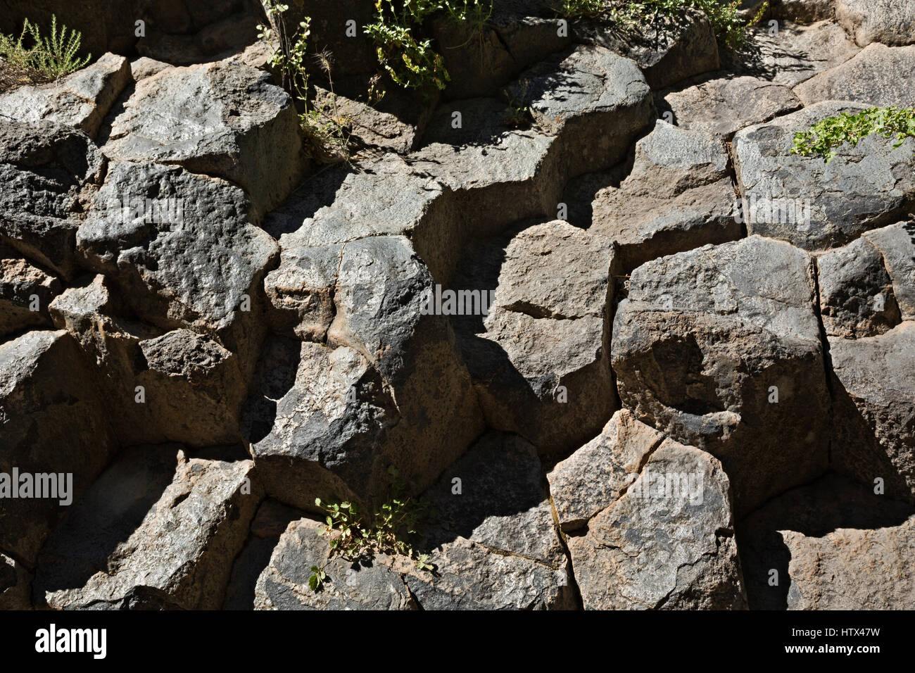 CA03043-00...CALIFORNIA - Hexagonal heads of columnar basalt in Devils Postpile National Monument. - Stock Image